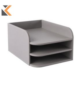 Osco Grypu3Dt 3Tier Letter Tray Faux Leather Grey