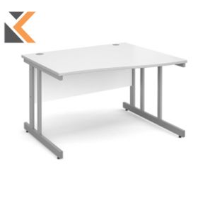 Momento Left Hand Wave Desk [1600mm] - Silver Cantilever Frame, White Top