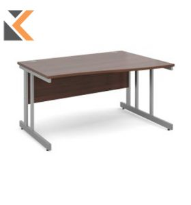 Momento Straight Desk [1400mm X 800mm] - Silver Cantilever Frame, Walnut Top