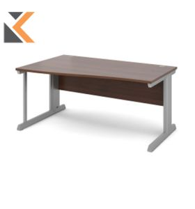 Vivo Straight Desk [800mm X 800mm] - Silver Frame, Walnut Top