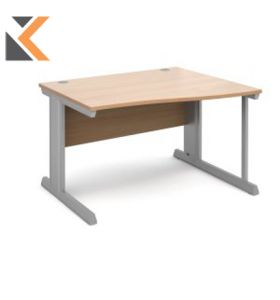 Momento Right Hand Wave Desk [1600mm] - Silver Cantilever Frame, Beech Top