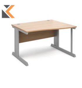 Vivo Straight Desk [1200mm X 800mm] - Silver Frame, Walnut Top
