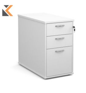 Deluxe 2-Drawer Filing Cabinet With Silver Handles [730mm] High - White