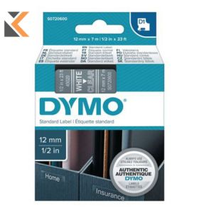 Dymo D1 Labels, White Print On Clear - [12mm X 7M Roll]