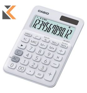 Desk Calculator - [12-Digit] Big-Display In White With Function Command Signs