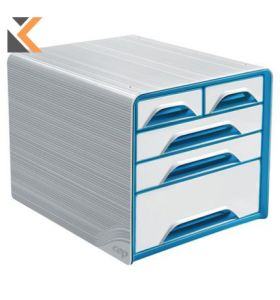 Cep Classic - [5-Drawers] Mixed Sizes Unit White/Blue