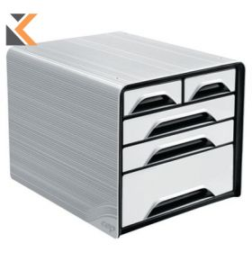 Cep Classic - [5 Drawers] Mixed Sizes Unit White/Black