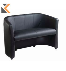 London Black Faux Leather - [2 Seater]