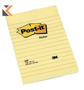 Post-It Notes Feint-Ruled Pads Yellow Pack 6 - [102X152mm]
