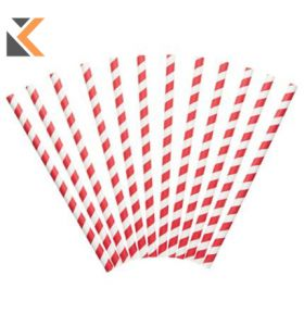 Red And White Paper Straws- [Pack of 250]