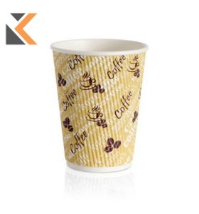 Red Bean Ripple Wall Hot Cup 12oz- [Pack of 25]