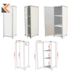 Mobile Magnetic Whiteboard Cube On Duty Heavy Wheels With 2 Shelves - [58X170cm]