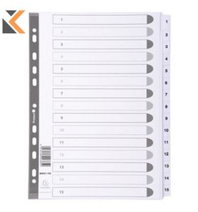 Exacompta Guildhall Mylar Dividers A4 White - [1-15]