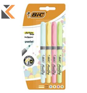 Bic-964859 Grip Highlighter Assorted Pastel - [Pack of 4]