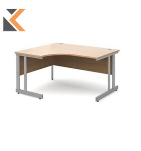 Momento Right Hand Ergonomic Desk [1400mm] - Silver Cantilever Frame, Beech Top