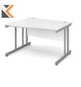 Momento Left Hand Wave Desk [1200mm] - Silver Cantilever Frame, White Top