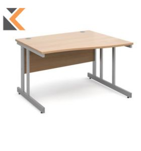 Momento Right Hand Wave Desk [1200mm] - Silver Cantilever Frame, Beech Top