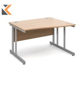 Momento Left Hand Wave Desk [1200mm] - Silver Cantilever Frame, Beech Top