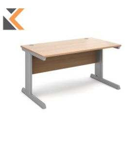 Vivo Straight Desk [800mm X 800mm] - Silver Frame, Beech Top