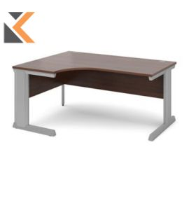 Vivo Left Hand Ergonomic Desk [1600mm] - Silver Frame, Walnut Top