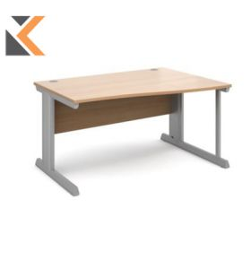 Vivo Right Hand Wave Desk [1400mm] - Silver Frame, Beech Top