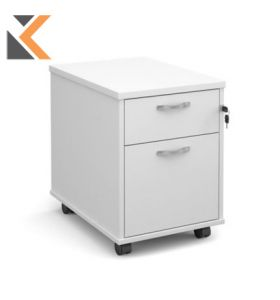 Mobile 2-Drawer Pedestal With Silver Handles [600mm] Deep - White