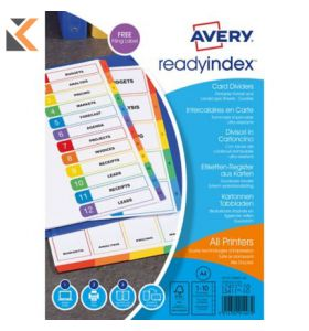 Avery ReadyIndex Dividers, 1-10 Punched - [01735501]