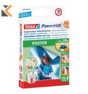 Tesa Powerstrips Poster Fixers For 200G Load - [Pack of 20]