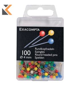 Exacompta Map Pins, 15mm Height,  4mm Round - Assorted Colours - [ Pack of 100]