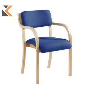 Wood-Framed Conference Chair With Arm Rests - [Blue]