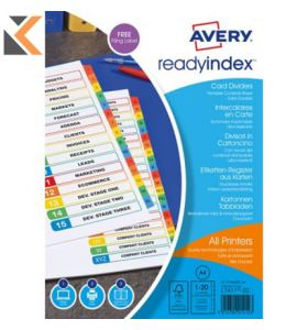 Avery ReadyIndex Dividers, 1-20 Numeric Punched - [01966501]