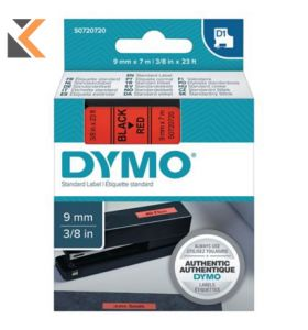 Dymo D1 Labels, Black Print On Red - [9mm X 7M Roll]
