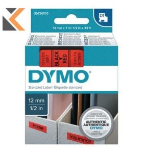 Dymo D1 Labels, Black Print On Red - [12mm X 7M Roll]