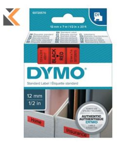 Dymo D1 Labels, Red Print On White - [12mm X 7M Roll]
