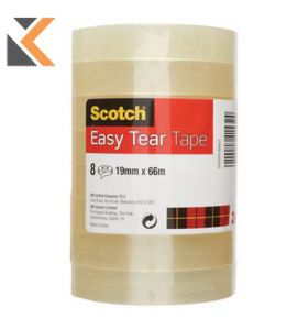 Scotch Easy Tear Clear Tape 19mm X 66M - [Pack of 8]