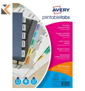 Avery Printable Tabs, Assorted coloured - [05412501]