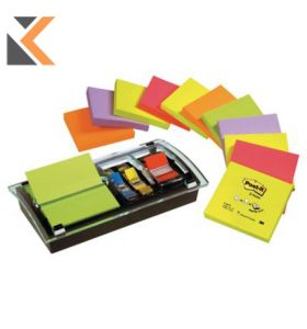 Post-It Designer Dispenser With 12 Pads Neon Pop-Up Znotes And [50 Index Flags]