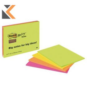Post-It Super Sticky Meeting Notes 152x203mm Neon Asst - [Pack Of 4]