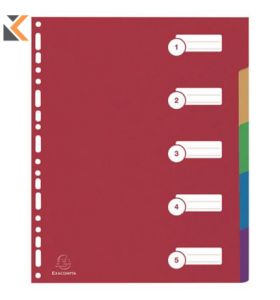 Exacompta Multicolour A4 Polypropylene Dividers - [5 Part]