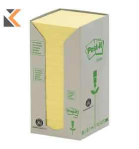 Post-It Recycled Notes Canary Yellow 16 Pads - [76X76mm]