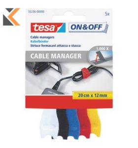 Tesa 55236 On & Off Hook & Loop Cable Manager Assorted Coloured - [Pack of 5]
