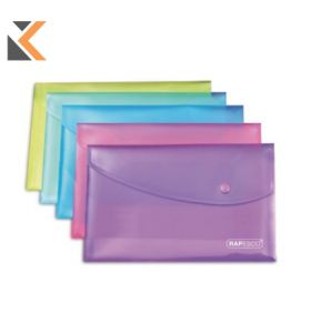 Assorted Bright A5 Polypropylene Wallets Popper - [Pack of 5]