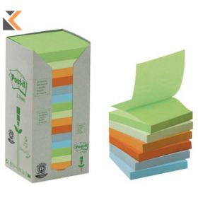 Post-It 100% Recycled Z Notes Pastel Pack of 16 Pads - [76 X 76mm]
