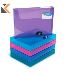 Rapesco Assorted A4 Bright Colours Polypropylene Docbox 40mm - [Box of 5]