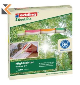 Edding Ecoline 24 Highlighter Assorted Colours - [Wallet of 4]