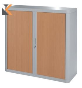 Paperflow EasyOffice Tambour Cupboard - 1M Grey / Beech