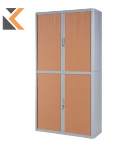 Paperflow EasyOffice Tambour Cupboard - 2M Grey / Beech