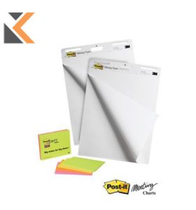 Post-It Sticky Super Meeting Chart Plain White Paper - [Pack of 6]