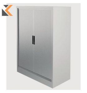 Kontrax Steel Tambour Grey Cupboard 1M