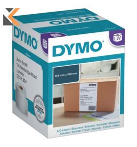 Dymo LW Extra Large Shipping Labels, 104mm X 159mm, Black On White - [Roll of 220]